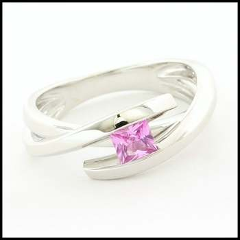 14k White Gold Overlay, 0.25ctw Pink Princess Cut CZ's Ring Size 6.5