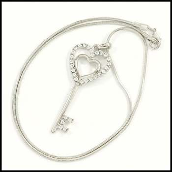 "14k White Gold Overlay, 0.6ctw AAA Grade CZ's ""Key"" Necklace"
