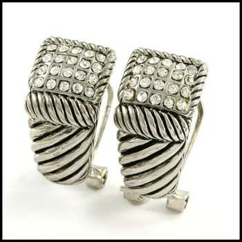 14k White Gold Overlay, 0.8ctw White Sapphire Earrings