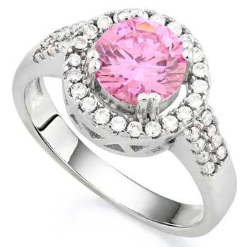 14k White Gold Overlay 1.25ctw Pink & White Sapphire Ring Size8