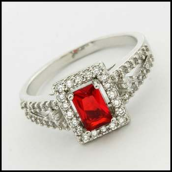 14k White Gold Overlay, 1.30ctw Ruby & White Sapphire Ring Size 8