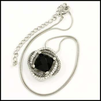 14k White Gold Overlay, 13mm Black Onyx & 0.32ctw AAA Grade CZ's Necklace