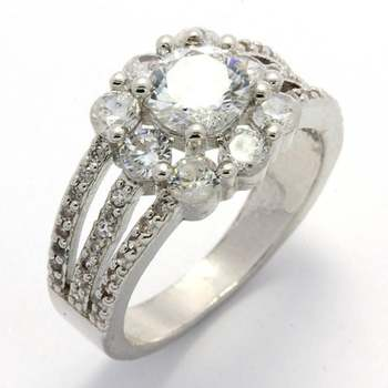 14k White Gold Overlay, 1.56ctw White Sapphire Ring Size 8