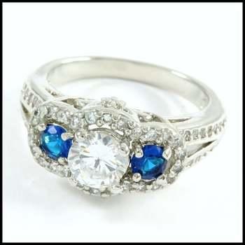 14k White Gold Overlay, 2.50ctw Blue & White Sapphire Ring Size 7