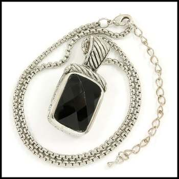 14k White Gold Overlay, 25x18mm Black Onyx Necklace