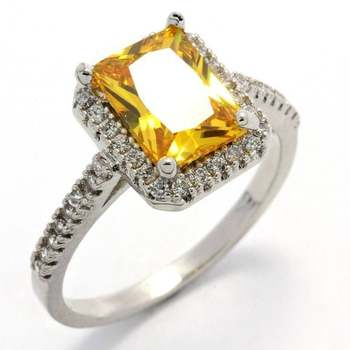 14k White Gold Overlay, 3.20ctw  Citrine & AAA Grade CZ's Ring Size 7