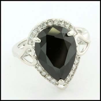 14k White Gold Overlay, 3.75ctw Black Spinel & White Sapphire Ring Size 8
