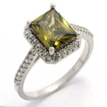 14k White Gold Overlay, 4.23ctw  Peridot & White Sapphire  Ring Size 7