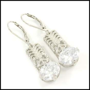 14k White Gold Overlay, 4.40ctw White Sapphire Earrings