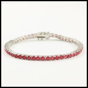 14k White Gold Overlay 5.00ctw Man-made Ruby Bracelet