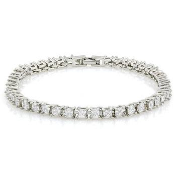 14k White Gold Overlay 6.00ctw Cubic Zirconia Tennis Bracelet
