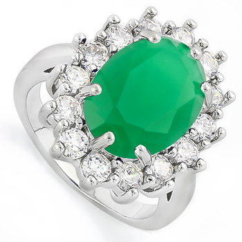 14k White Gold Overlay 6.30ctw Emerald & White Sapphire Ring sz 8