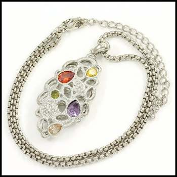 14k White Gold Overlay, 6.5ctw Multi-Color Gemstone Necklace