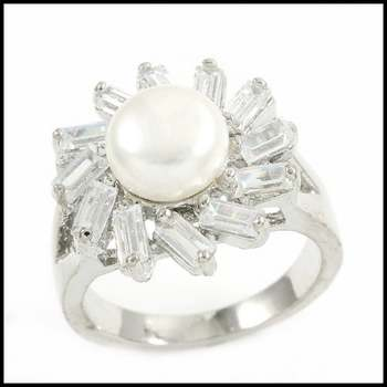 14k White Gold Overlay, 8mm White Fresh Water Pearl & White Sapphire Ring Size 6