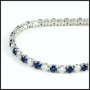14k White Gold Overlay, 9.89ctw Blue&White Sapphire Tennis Bracelet