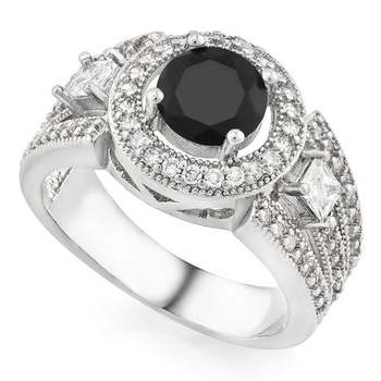 14k White Gold Overlay AAA+ Grade Fine Black and White Cubic Zirconia Ring sz 8