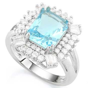 14k White Gold Overlay AAA+ Grade Light Blue and White Cubic Zirconia Ring Size 8