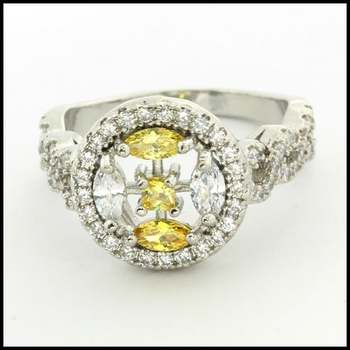 14k White Gold Overlay AAA Grade Yellow & White CZ Ring Size 7