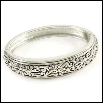 14k White Gold Overlay Bangle Bracelet