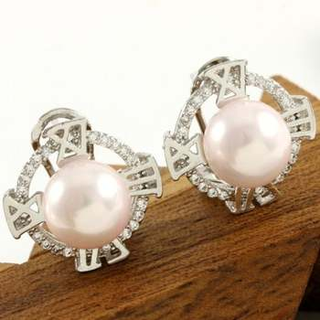 14k White Gold Overlay Beautifully Created 10mm Pink Pearl and 0.50ctw White Sapphire Earrings