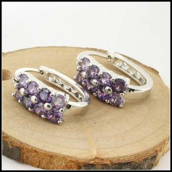 14k White Gold Overlay Beautifully Created Amethyst Earrings