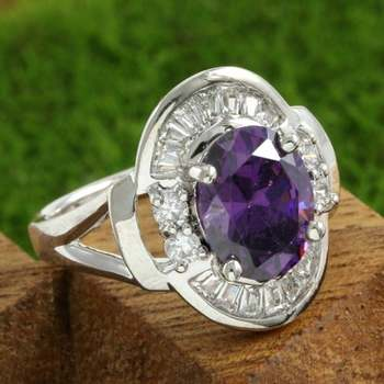 14k White Gold Overlay Beautifully Created Amethyst Ring Size 7