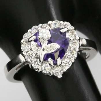 14k White Gold Overlay Beautifully Created Amethyst Ring sz 7