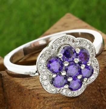 14k White Gold Overlay Beautifully Created Amethyst Ring sz 6