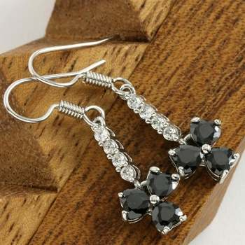 14k White Gold Overlay Beautifully Created Black and White Sapphire Earrings