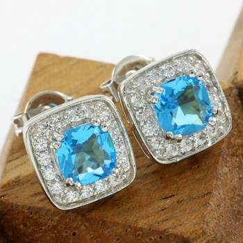 14k White Gold Overlay Beautifully Created Blue and White Topaz Stud Earrings
