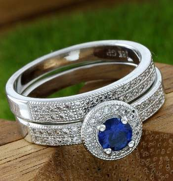 14k White Gold Overlay Beautifully Created Blue Sapphire Set of Two Rings Size 7