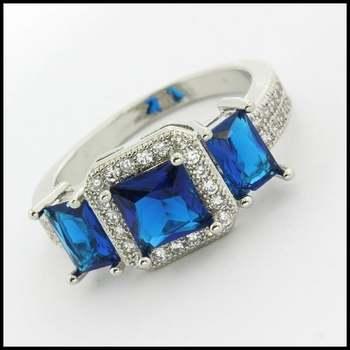 14k White Gold Overlay Beautifully Created Blue & White Sapphire Ring sz 9