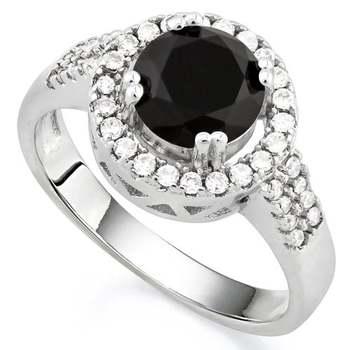 14k White Gold Overlay Beautifully Created Dark Blue and White Sapphire Ring sz 9