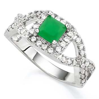 14k White Gold Overlay Beautifully Created Emerald and White Sapphire Ring Size 7