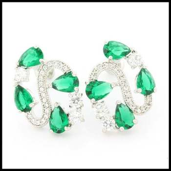 14k White Gold Overlay Beautifully Created Emerald Earrings