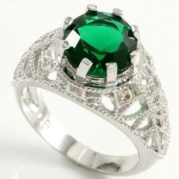 14k White Gold Overlay Beautifully Created Emerald Ring Size 7