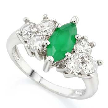 14k White Gold Overlay Beautifully Created Emerald Ring sz 7