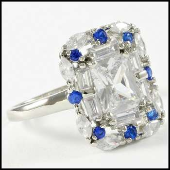 14k White Gold Overlay Beautifully Created Fine White and Blue Sapphire Ring Size 7