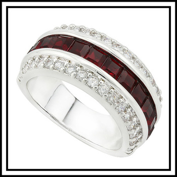14k White Gold Overlay Beautifully Created Ruby  and White Sapphire Ring sz 6