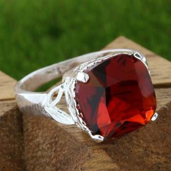 14k White Gold Overlay Beautifully Created Ruby Ring sz 7