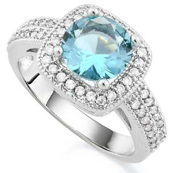 14k White Gold Overlay Beautifully Created Sky Blue Topaz And White Sapphire Ring sz 7