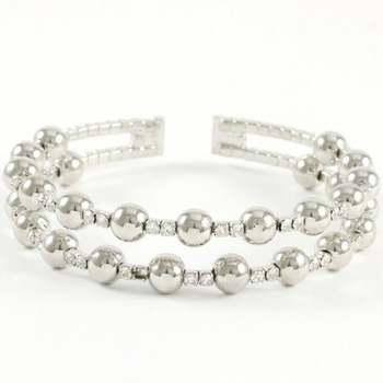 14k White Gold Overlay Beautifully Created White Sapphire Bracelet