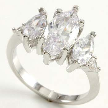 14k White Gold Overlay Beautifully Created White Sapphire Ring Size 8