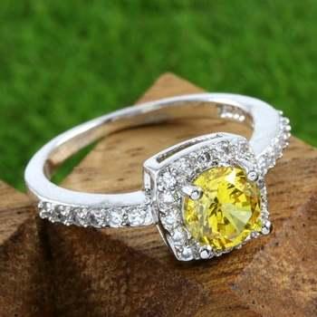 14k White Gold Overlay Beautifully Created Yellow Topaz Ring Size 7