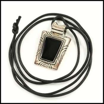 14k White Gold Overlay, Black Enamel Cord Necklace