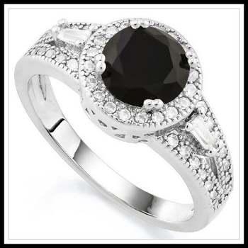 14k White Gold Overlay Black Sapphire Ring Size 7