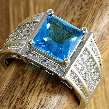 14k White Gold Overlay Blue Topaz Ring Size 7