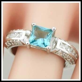 14k White Gold Overlay  Blue Topaz Ring Size 8