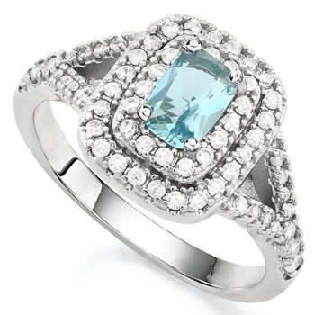14k White Gold Overlay Blue & White Topaz Ring Size 7