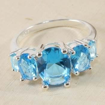 14k White Gold Overlay Blue & White Topaz  Ring Size 8